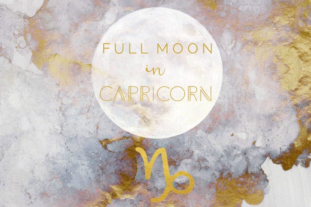Golden and gray abstract watercolor painting with a white full moon image and a golden Capricorn symbol. Over the moon are the words Full Moon in Capricorn